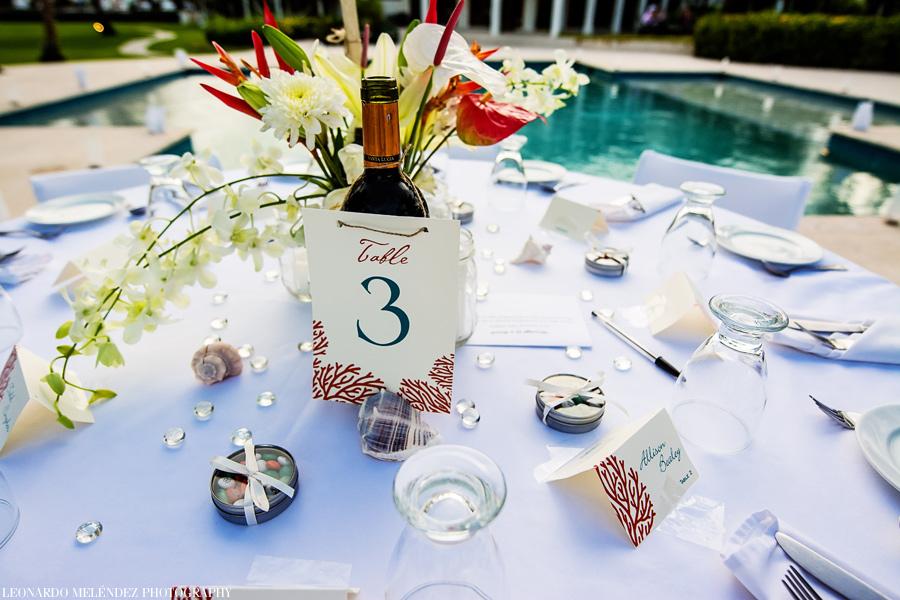 Table setup at Victoria House Belize wedding. Belize wedding photographers Leonardo Melendez Photography.