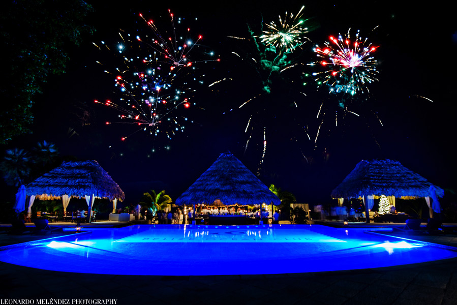 belize ocean club party with fireworks