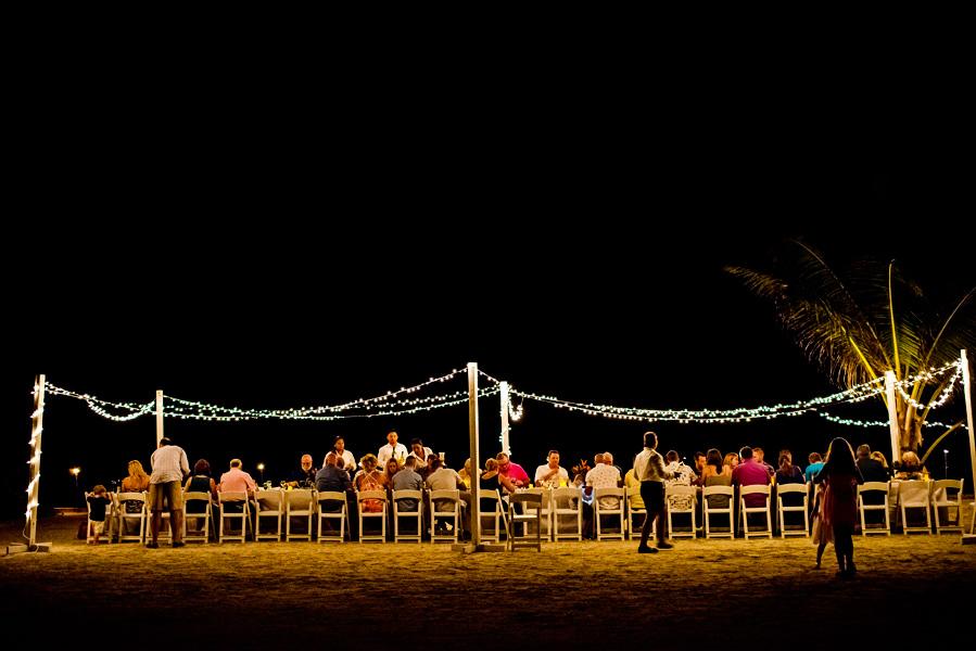 Sunset wedding rehearsal dinner, Grand Caribe Belize. Photo by Leonardo Melendez.